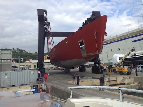 Image for article Perini Navi 70m C.2227 arrives in La Spezia to continue construction