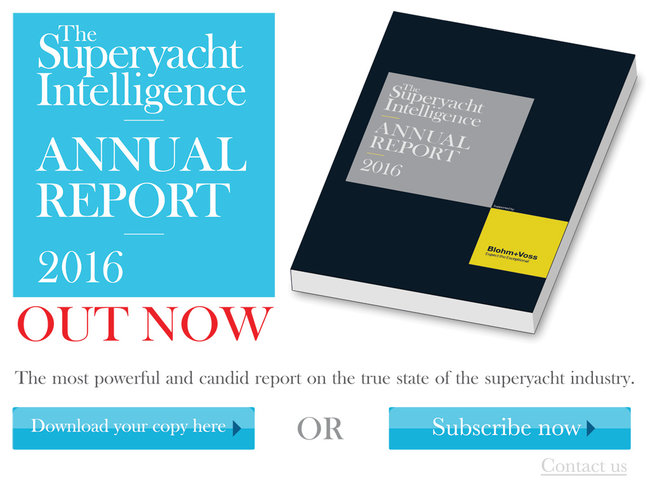 The Superyacht Intelligence Annual Report 2016. Out Now. The powerful and candid report on the true state of the superyacht industry. Download your copy here or subscribe now or contact us